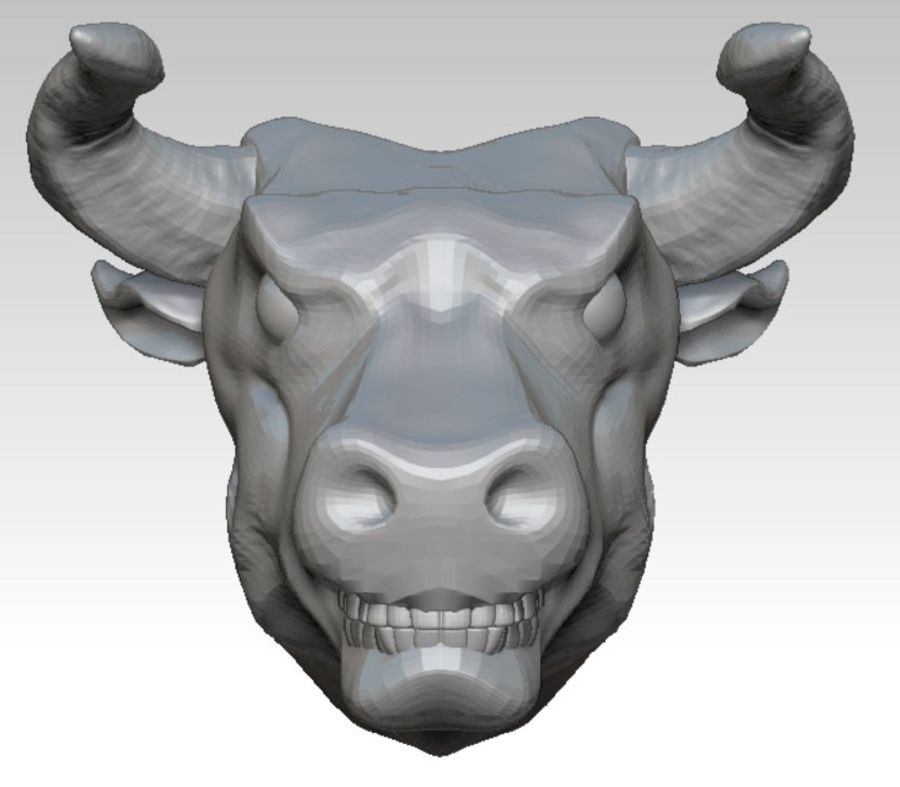 Bull head angry royalty-free 3d model - Preview no. 3
