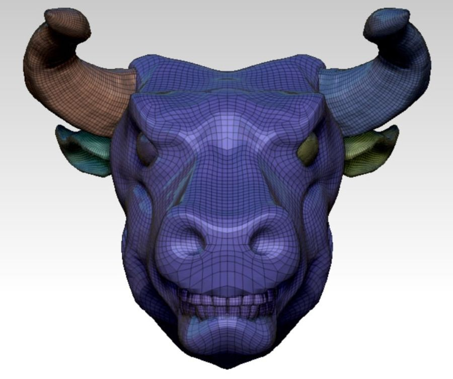 Bull head angry royalty-free 3d model - Preview no. 5