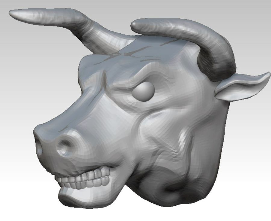 Bull head angry royalty-free 3d model - Preview no. 1