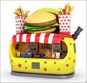 Burger Stand Cartoon V1 3d model