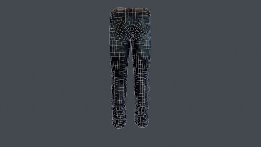Blue Denim Jeans royalty-free 3d model - Preview no. 4
