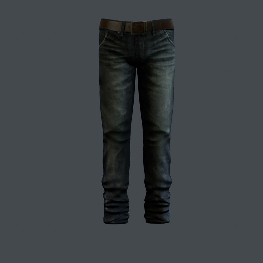 Blue Denim Jeans royalty-free 3d model - Preview no. 1