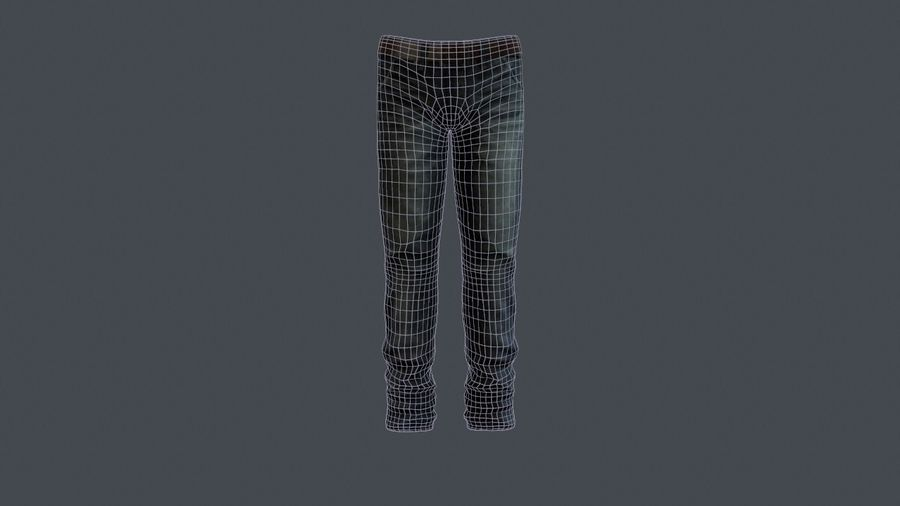 Blue Denim Jeans royalty-free 3d model - Preview no. 2