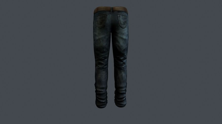 Blue Denim Jeans royalty-free 3d model - Preview no. 5