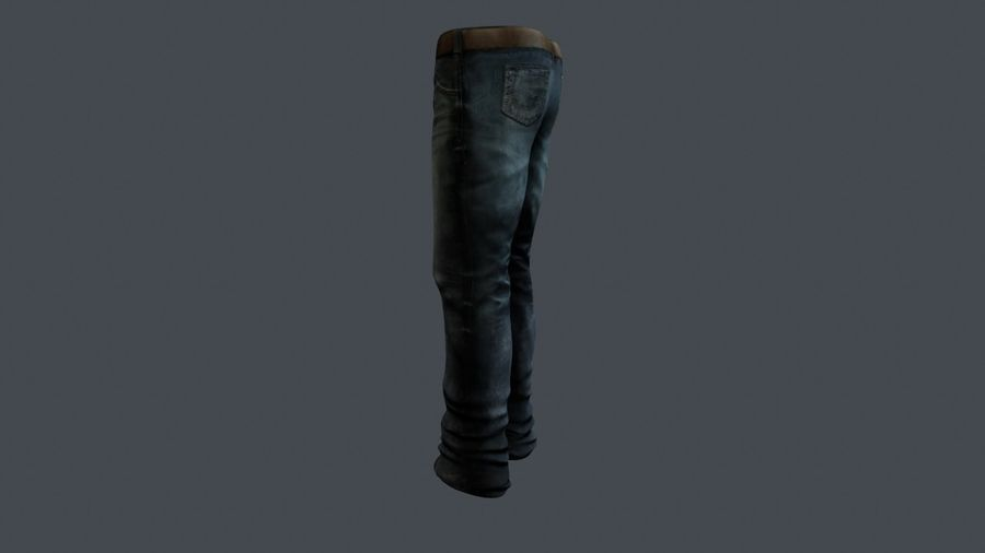 Blue Denim Jeans royalty-free 3d model - Preview no. 6