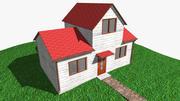 Houten huis met interieur 3d model