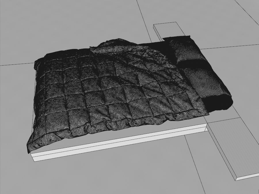HQ Bed royalty-free 3d model - Preview no. 4