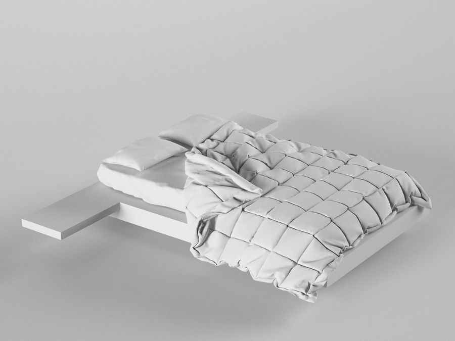 HQ Bed royalty-free 3d model - Preview no. 1