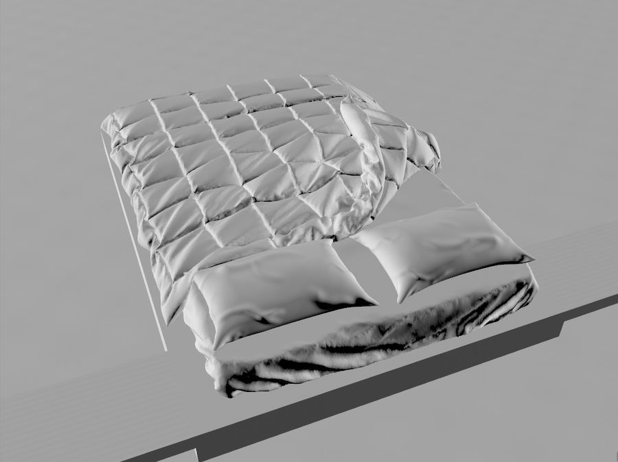 HQ Bed royalty-free 3d model - Preview no. 5