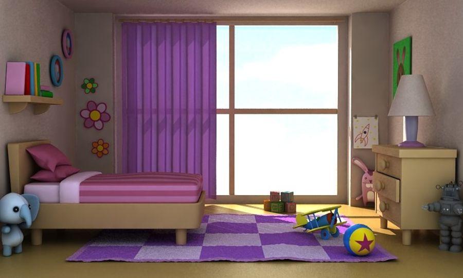 Çizgi Film Kız Odası v2 royalty-free 3d model - Preview no. 2