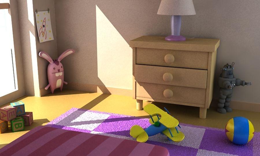 Cartoon Girls Room v2 royalty-free 3d model - Preview no. 4