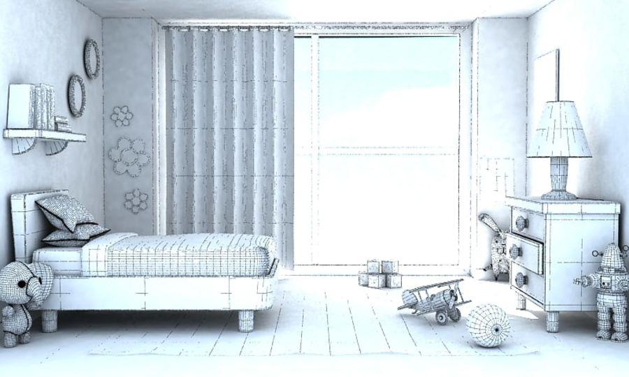 Çizgi Film Kız Odası v2 royalty-free 3d model - Preview no. 3