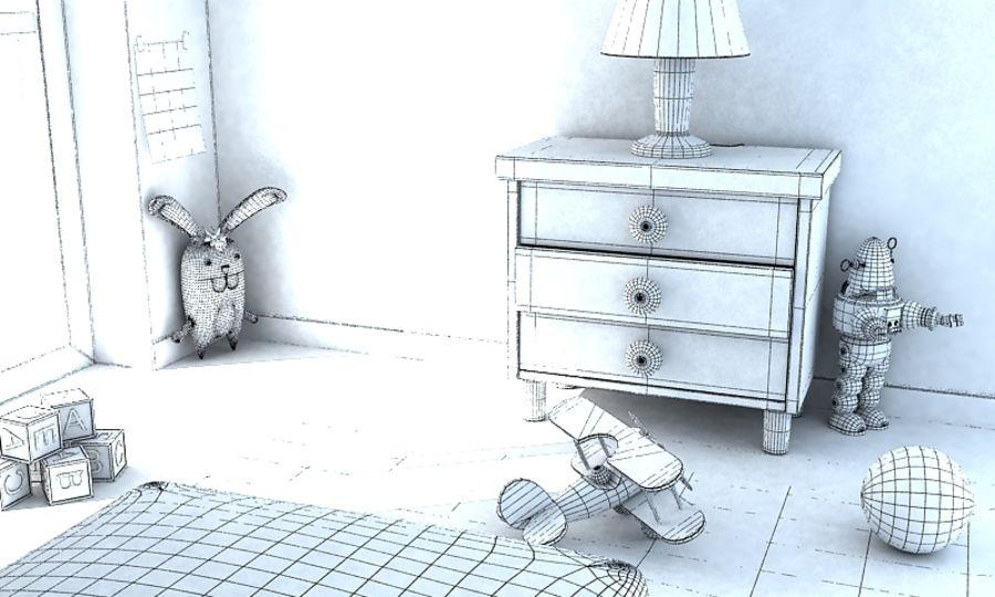Cartoon Girls Room v2 royalty-free 3d model - Preview no. 5
