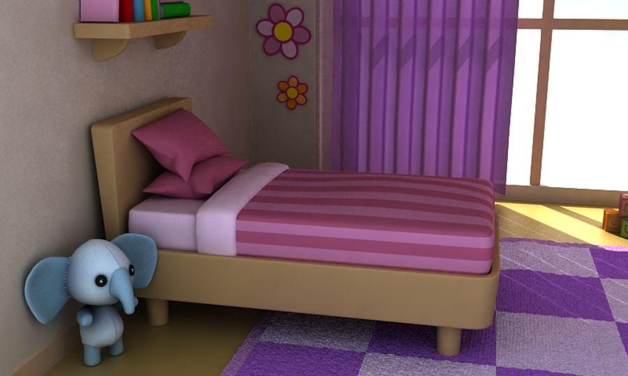 Cartoon Girls Room v2 royalty-free 3d model - Preview no. 6
