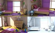 Sala de chicas de dibujos animados v2 modelo 3d