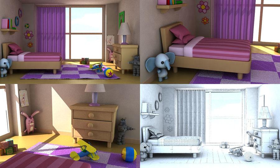 Cartoon Girls Room v2 royalty-free 3d model - Preview no. 1