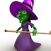 Purple Witch Cartoon 3d model