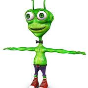 Green Alien Cartoon 3d model