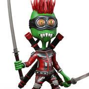 Samurai-Ausländer-Karikatur 3d model