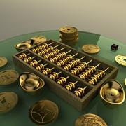 Ábaco de oro chino y lingote modelo 3d