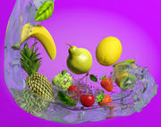 MIxed Fruits in Water 3d model