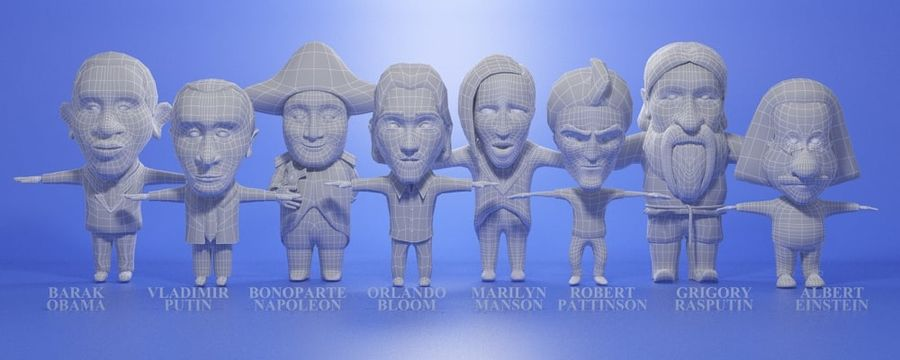 Famous people royalty-free 3d model - Preview no. 7