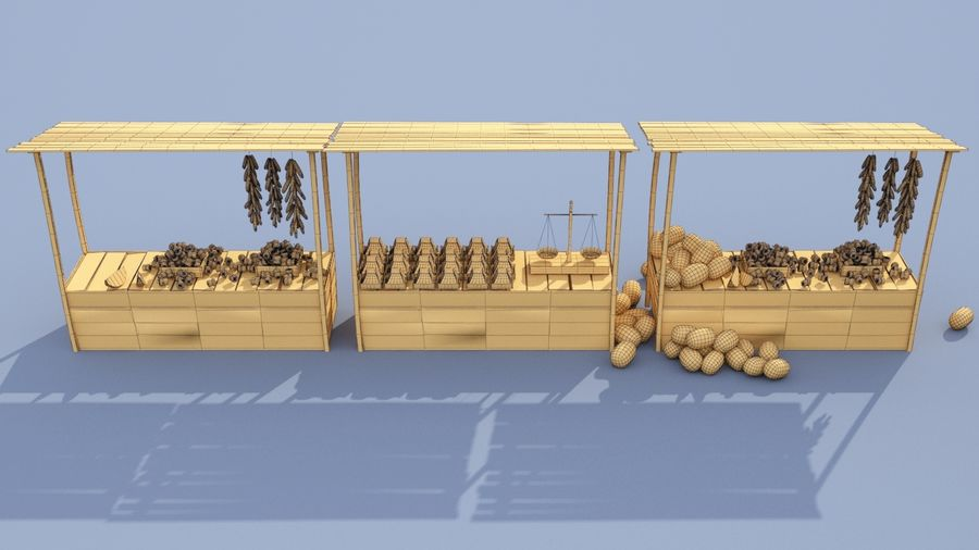 market stall royalty-free 3d model - Preview no. 6
