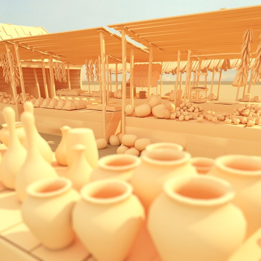 market stall royalty-free 3d model - Preview no. 1