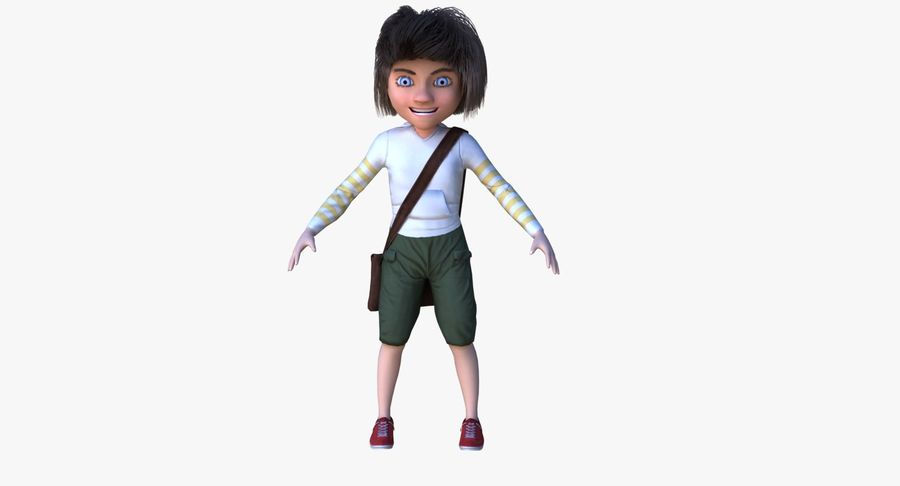Cartoon Boy Character PBR royalty-free 3d model - Preview no. 4