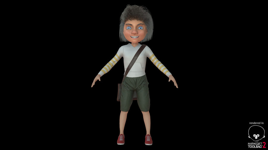 Cartoon Boy Character PBR royalty-free 3d model - Preview no. 27