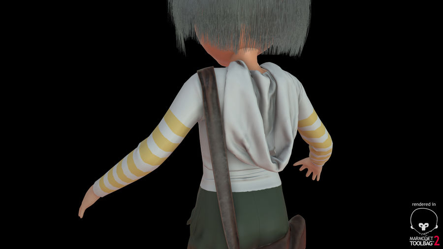 Cartoon Boy Character PBR royalty-free 3d model - Preview no. 32
