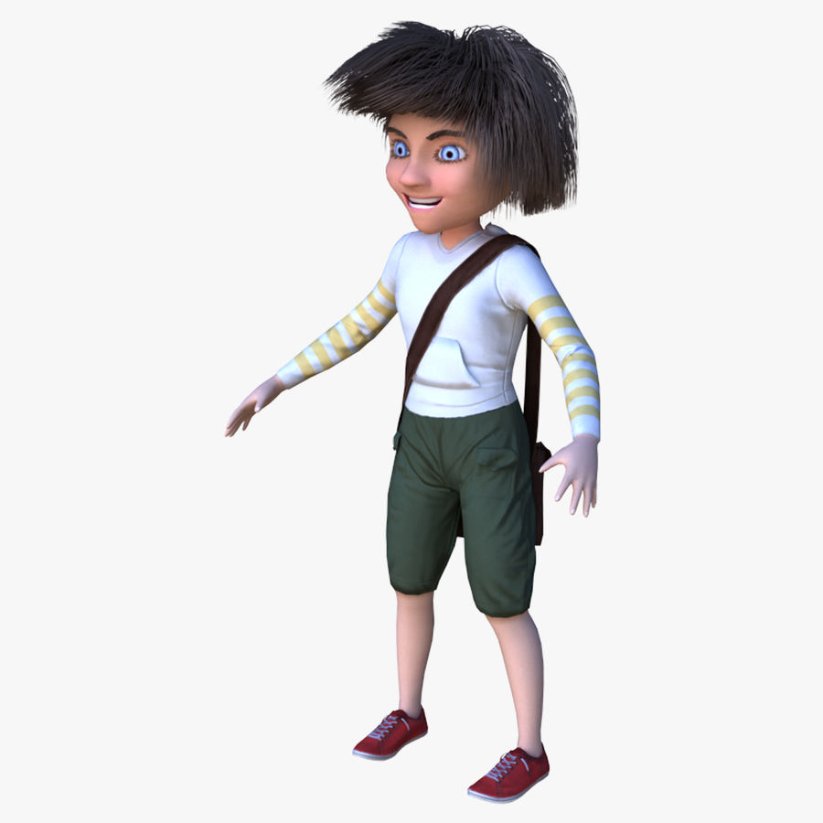 Cartoon Boy Character PBR royalty-free 3d model - Preview no. 1