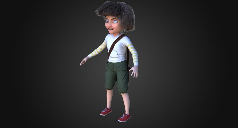 Cartoon Boy Character PBR royalty-free 3d model - Preview no. 3