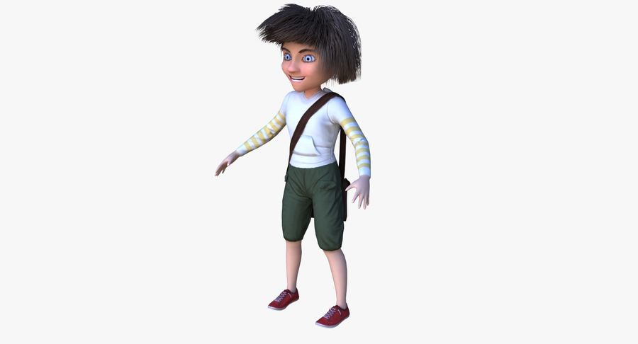 Cartoon Boy Character PBR royalty-free 3d model - Preview no. 2