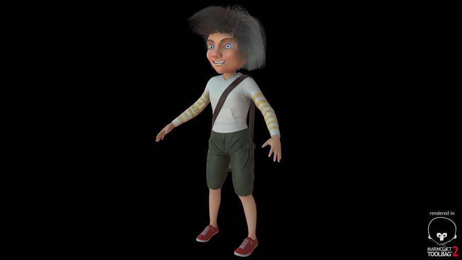 Cartoon Boy Character PBR royalty-free 3d model - Preview no. 26