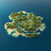 Tropical Island Terrain 2 3d model