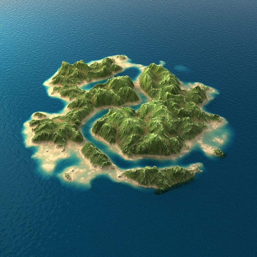 Tropical Island Terrain 2 royalty-free 3d model - Preview no. 1
