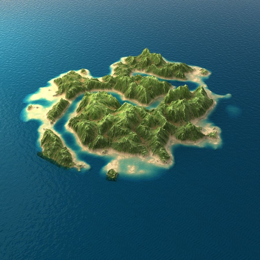 Tropical Island Terrain 2 royalty-free 3d model - Preview no. 5