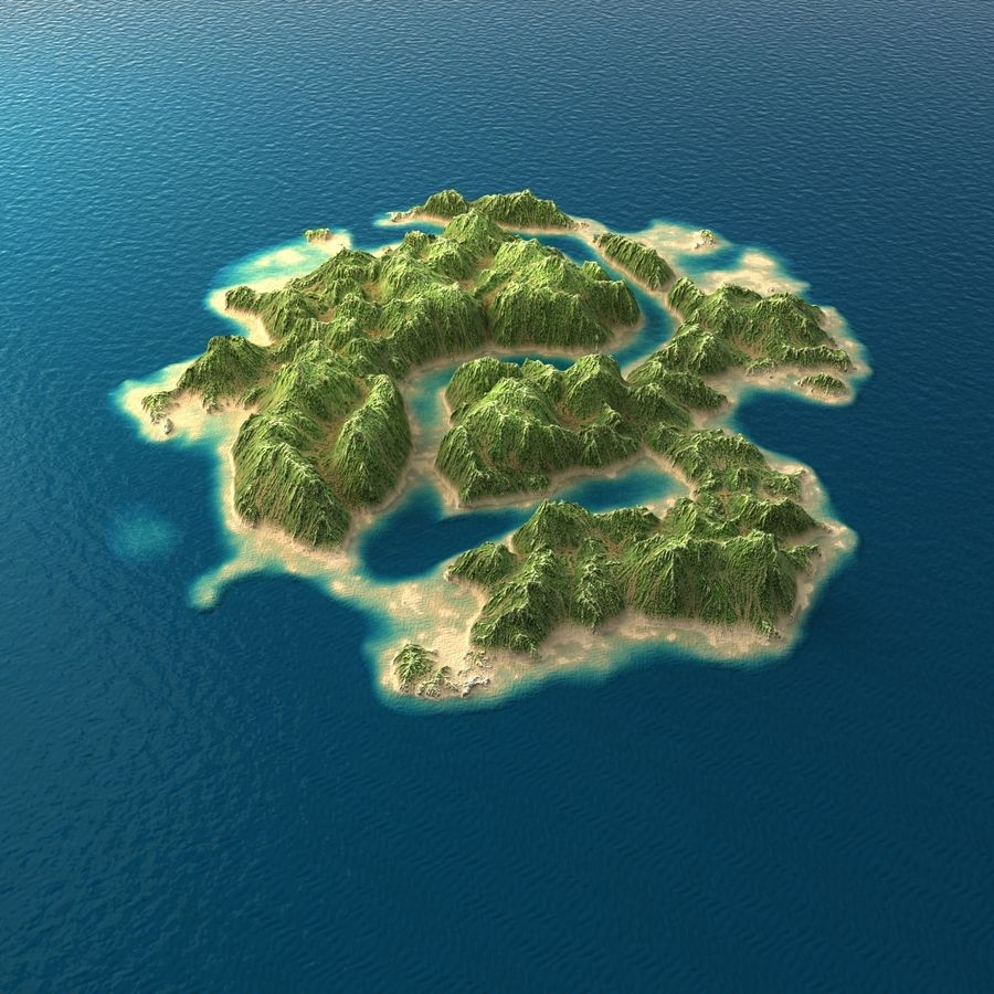 Tropical Island Terrain 2 royalty-free 3d model - Preview no. 3