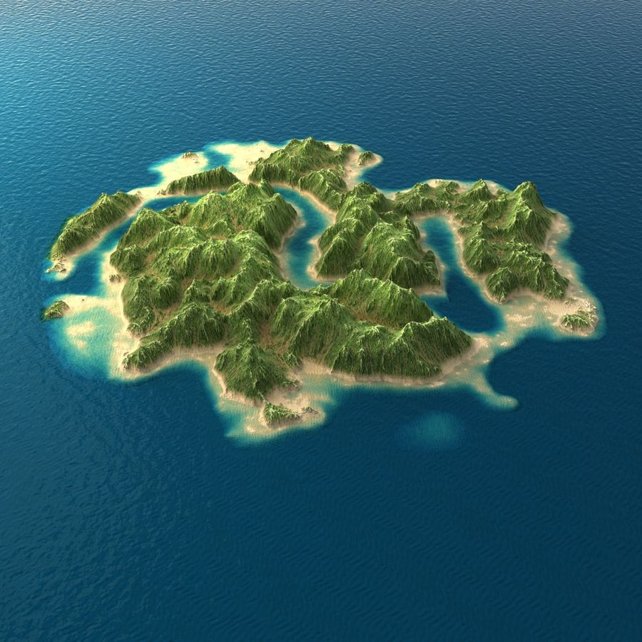 Tropical Island Terrain 2 royalty-free 3d model - Preview no. 4