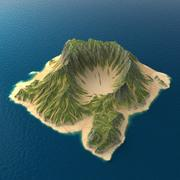 Tropical Island Terrain 6 3d model