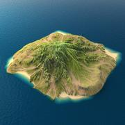 Tropical Island Terrain 7 3d model