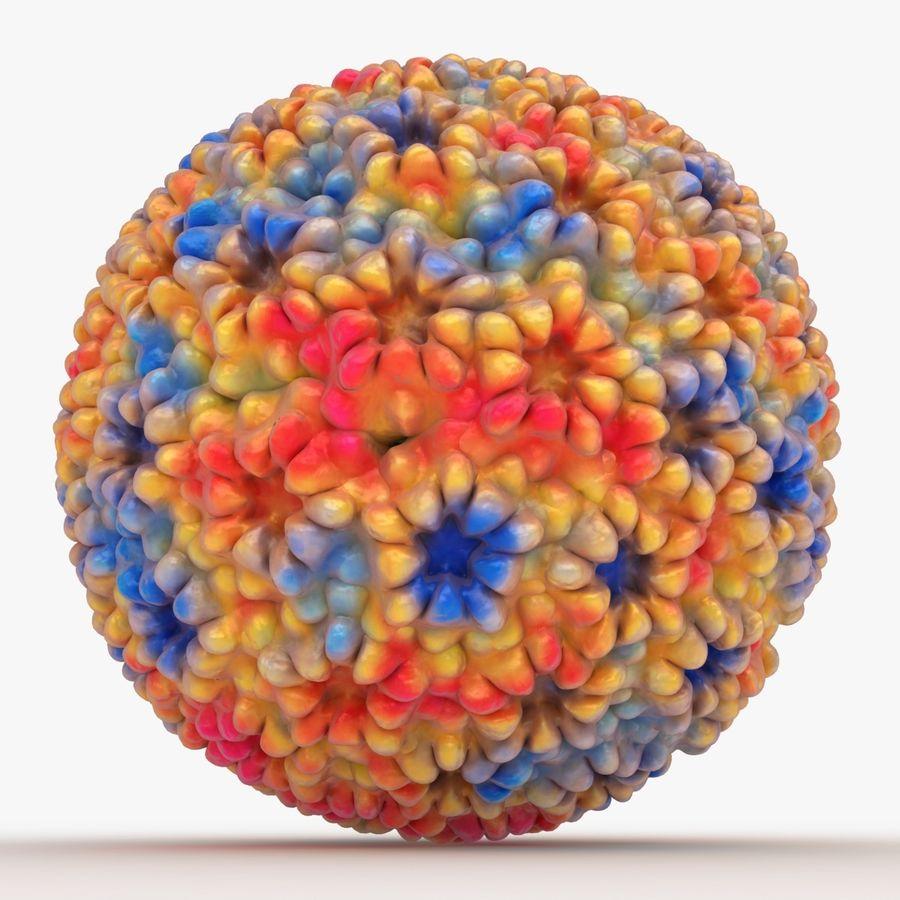 Papilloma Virüsü (Renkli) royalty-free 3d model - Preview no. 7