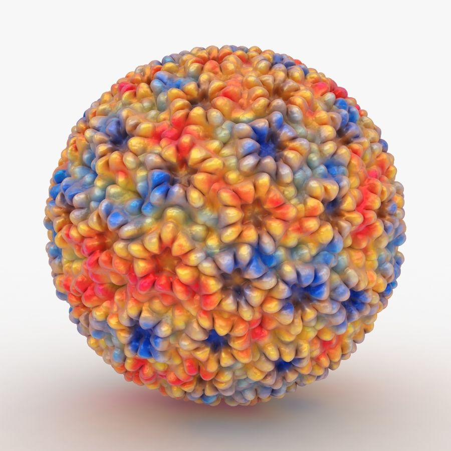 Papilloma Virüsü (Renkli) royalty-free 3d model - Preview no. 3
