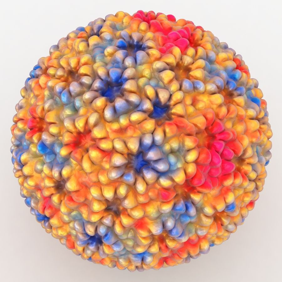 Papilloma Virüsü (Renkli) royalty-free 3d model - Preview no. 5