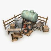 Alter Bauernhof-Rückstand 3d model