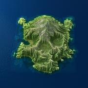Tropical Island Terrain 10 skull 3d model