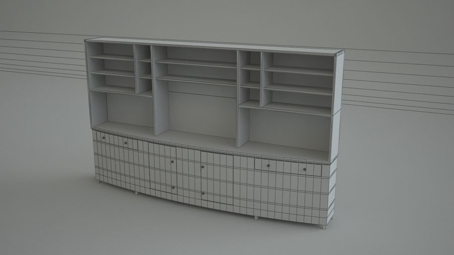 Wall Unit royalty-free 3d model - Preview no. 5