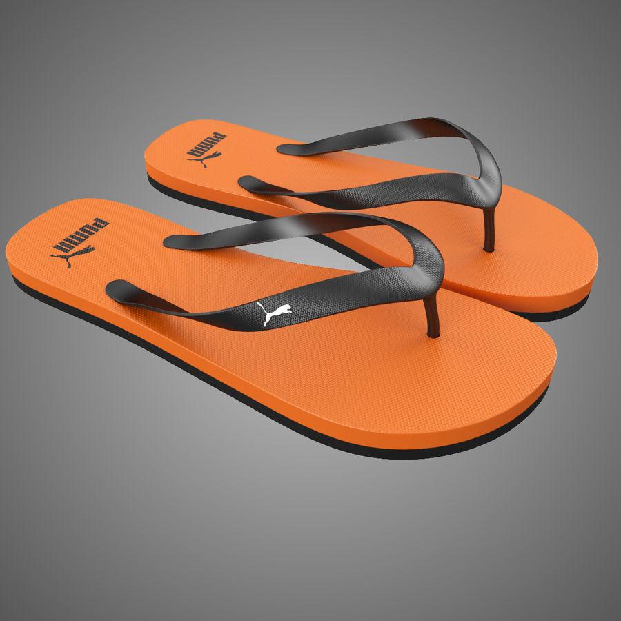 Puma Flip-Flops Orange royalty-free 3d model - Preview no. 2