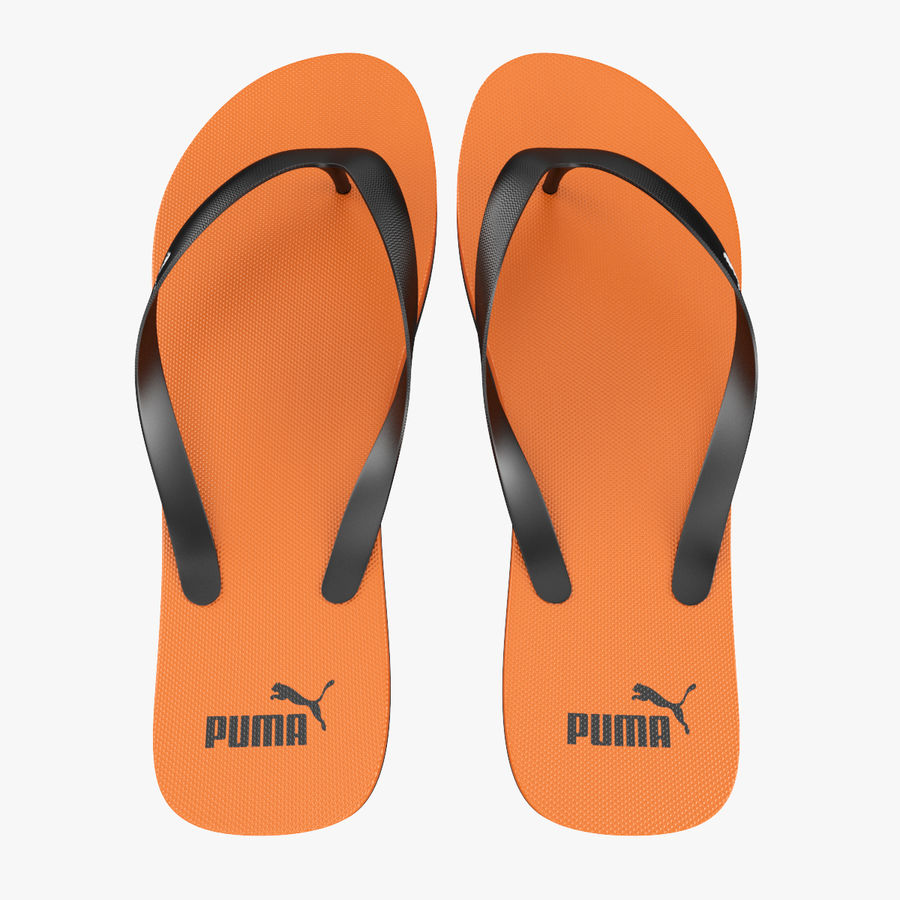 Puma Flip-Flops Orange royalty-free 3d model - Preview no. 5